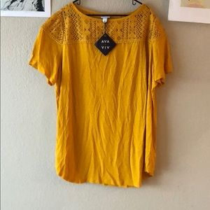 {Ava & Viv} -3x- Mustard shortsleeve tunic